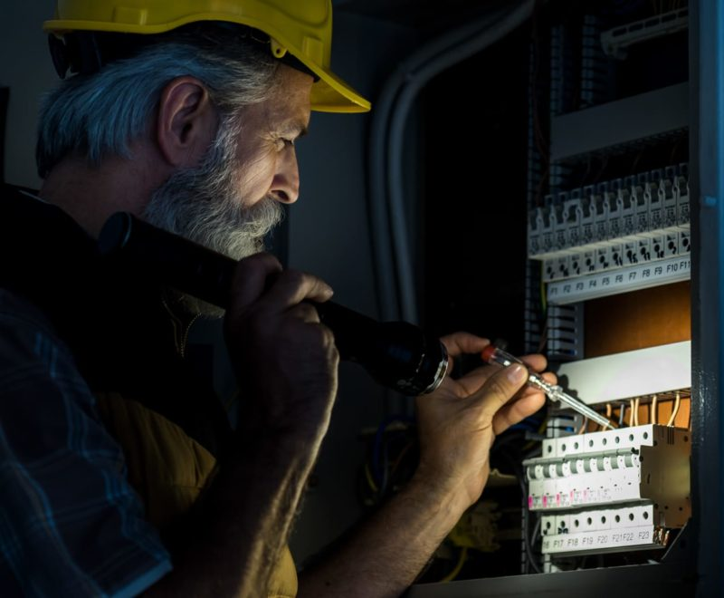 Male engineer completing on a work order